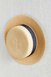 Urban Outfitters Grosgrain Mini Boater Hat Tan