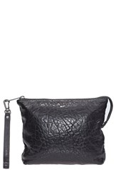 Will Leather Goods 'Opal' Large Grain Leather Wristlet Black