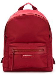 Longchamp Zipped Backpack Red