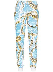 Moschino Charm Print High Waisted Cotton Track Pants Blue