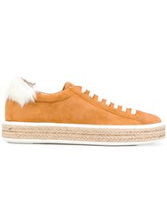 Mr And Mrs Italy Espadrille Sneakers Leather Sheep Skin Shearling Suede Rubber Yellow Orange
