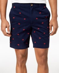 Club Room Crab Embroidered 9 Shorts Navy Blue Combo