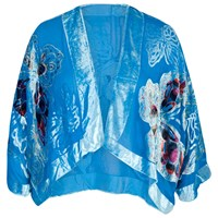 Chesca Butterfly Printed Silk Velvet Jacket Turquoise