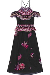 Temperley London Wildflower Cold Shoulder Embroidered Cotton And Silk Blend Midi Dress Black