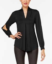 Cable And Gauge Cold Sleeve Knit Blouse Jet Black
