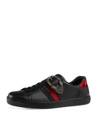 Gucci New Ace Leather Low Top Sneaker With Dionysus Buckle Black