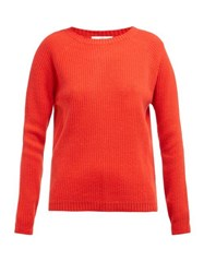 Allude Ribbed Knit Cashmere Sweater Red