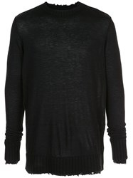 Ziggy Chen Distressed Knit Jumper Black