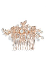 Nina Ladee Crystal And Imitation Pearl Floral Comb Rose Gold