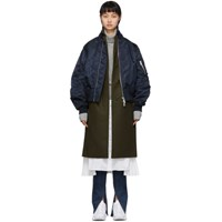 Sacai Khaki And Navy Wool Melton Coat