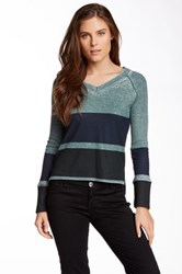 Go Couture Long Sleeve Burnout Thermal Tee Multi