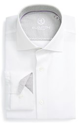 Bugatchi Men's Big And Tall Trim Fit Solid Dress Shirt White