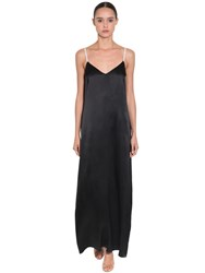 Objet De Desir Silk Satin Long Dress W Crystal Straps Black