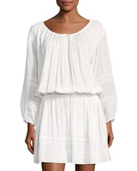 Vince 3 4 Sleeve Lace Inset Dress Off White