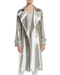 Ralph Lauren Sinclair Double Breasted Belted Metallic Trench Coat Silver