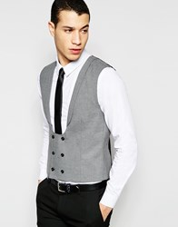 Selected Homme Skinny Wedding Vest With Stretch Gray