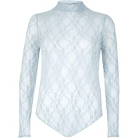 River Island Womens Light Blue Lace Bodysuit
