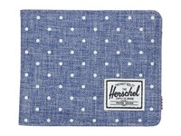 Herschel Hank Limoges Crosshatch White Polka Dot Tan Pebbled Synthetic Leather Wallet Handbags Blue