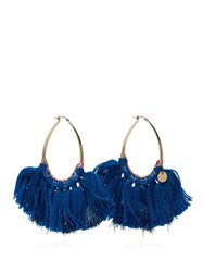Missoni Long Wool And Lurex Tasseled Hoop Earrings Blue