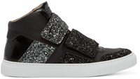 Maison Martin Margiela Black Glitter Velcro High Top Sneakers