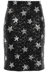 Ainea Woman Sequined Woven Mini Skirt Black