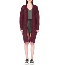 5Cm Long Line Open Front Knitted Cardigan Maroon