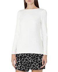 Reiss Erol Puff Sleeve Jersey Top Off White