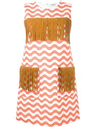 Au Jour Le Jour Zigzag Detail Fringed Dress Red