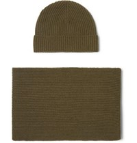 Johnstons Of Elgin Ribbed Cashmere Scarf And Beanie Set Army Green