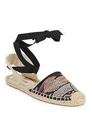 Soludos Woven Lace Up Espadrilles Black Multi