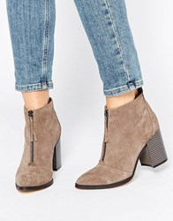 Office Ally Zip Front Suede Heeled Ankle Boots Grey Suede