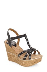 Women's Love And Liberty 'Violet' Spiked T Strap Wedge Sandal 4' Heel