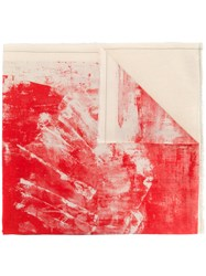 Lost And Found Ria Dunn Paint Print Scarf Cotton Red