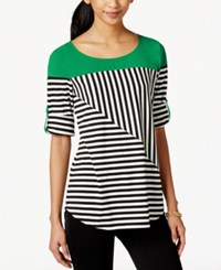 Ny Collection Striped Colorblocked Roll Tab Top