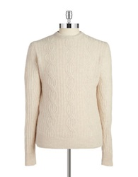 Black Brown Cableknit Cashmere Sweater Snow Cream