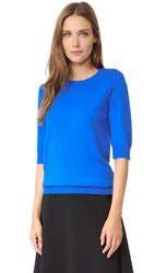 Nina Ricci Merino Wool Short Sleeve Sweater Bright Blue