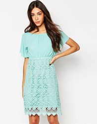 Traffic People Carry On Crochet Backless Dress Mint Green