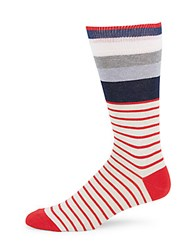 Saks Fifth Avenue Made In Italy Cotton Multi Striped Socks Red