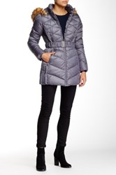 Jessica Simpson Belted Faux Fur Trimmed Jacket Gray