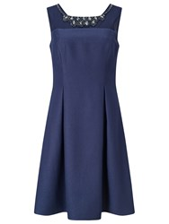 Jacques Vert Petite Embellished Yoke Dress Navy
