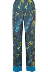 F.R.S For Restless Sleepers Etere Printed Silk Satin Twill Straight Leg Pants Blue