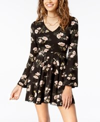 American Rag Juniors' Floral Print Fit And Flare Dress Created For Macy's Classic Black Combo