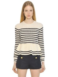 Red Valentino Striped Cable Wool Knit Peplum Sweater