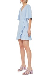 Topshop Ruffle Minidress Light Blue