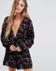 Kiss The Sky Wrap Front Long Sleeve Playsuit With Lace Trim Black