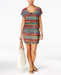 Anne Cole Pick Up Stix Striped Mesh Tunic Cover Up Women's Swimsuit Multi