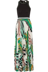 Emilio Pucci Stretch Ponte And Pleated Printed Stretch Jersey Maxi Dress Green