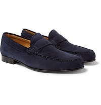 Canali Suede Penny Loafers Navy