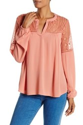 Harlowe And Graham Long Sleeve Lace Inset Blouse Pink