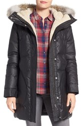 Soia And Kyo Women's Down Parka With Faux Shearling Genuine Coyote Fur Trim